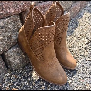 New! Perforated Faux Leather Western Boho Bootie